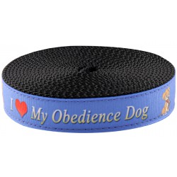 3/4 Inch I Love My Obedience Dog Ribbon on Black Nylon Webbing Closeout, 1 Yard