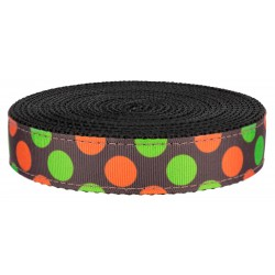 1 Inch Orange and Green Dots on Black Nylon Webbing Closeout
