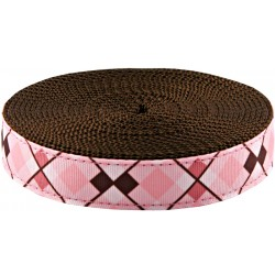 3/4 Inch Pink and Brown Argyle Ribbon on Brown Nylon Webbing