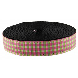 1 Inch Pink and Green Gingham Ribbon on Black Nylon Webbing