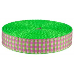 1 Inch Pink and Green Gingham Ribbon on Hot Lime Green Nylon Webbing Closeout, 1 Yard