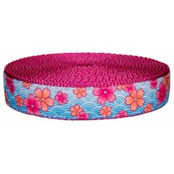 3/4 Inch Pink April Blossoms on Rose Nylon Webbing