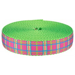 1 Inch Spring Pink Plaid on Hot Green Nylon Webbing