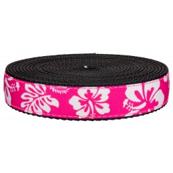 1 Inch Pink Hawaiian on Black Nylon Webbing