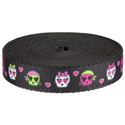 1 Inch Pirate Love on Black Nylon Webbing Closeout, 1 Yard