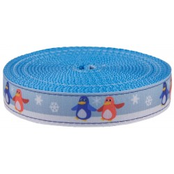1 Inch Penguin Pals Ribbon on Ice Blue Nylon Webbing