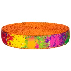 3/4 Inch Paint Splatter on Orange Nylon Webbing