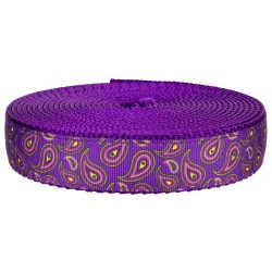 3/4 Inch Purple Paisley on Purple Nylon Webbing