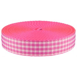 1 Inch Pink and White Gingham Ribbon on Hot Pink Nylon Webbing