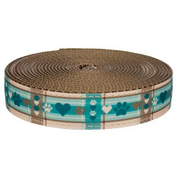 1 Inch Puppy Picnic on Coyote Tan Nylon Webbing