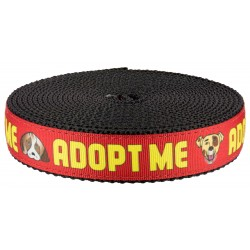1 Inch Red Adopt Me on Black Nylon Webbing - Closeout
