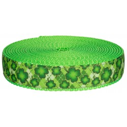 3/4 Inch Shamrockin' on Hot Lime Green Nylon Webbing