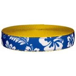 3/4 Inch Royal Blue Hawaiian on Gold Nylon Webbing