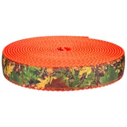 3/4 Inch Southern Forest Camo on Neon Orange Nylon Webbing