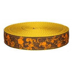 3/4 Inch Seasons of Change on Gold Nylon Webbing Closeout, 5 Yards