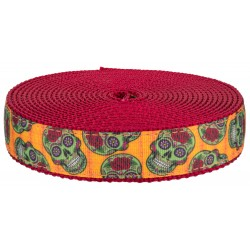 1 Inch Sugar Skulls on Red Nylon Webbing