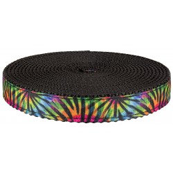 3/4 Inch Tie Dye Stripes Ribbon on Black Nylon Webbing