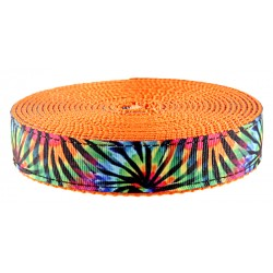 3/4 Inch Tie Dye Stripes Ribbon on Orange Nylon Webbing
