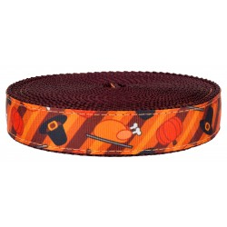 3/4 Inch Thanksgiving Feast on Burgundy Nylon Webbing
