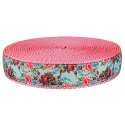 1 Inch Vintage Roses Ribbon on Pink Nylon Webbing