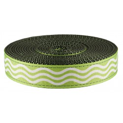 1 Inch Green Wave Ribbon on Dark Olive Drab Nylon Webbing