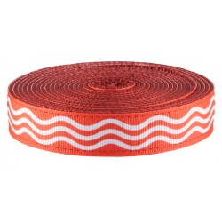 1 Inch Red Wave Ribbon on Red Nylon Webbing