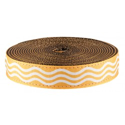 1 Inch Gold Wave Ribbon on Brown Nylon Webbing Closeout, 1 Yard