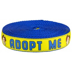 1 Inch Yellow Adopt Me on Royal Blue Nylon Webbing - Closeout