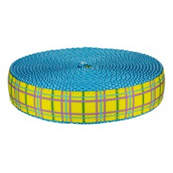 3/4 Inch Spring Yellow Plaid on Ice Blue Nylon Webbing Closeout, 20 Yards