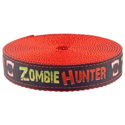 1 Inch Zombie Hunter Ribbon on Red Nylon Webbing