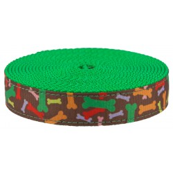 1 Inch Zany Bones Ribbon on Green Apple Nylon Webbing