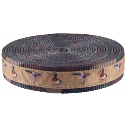 1 Inch Mallard Ribbon on Woodland Camo Polyester Webbing
