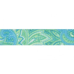 1 Inch Green Paisley Polyester Webbing