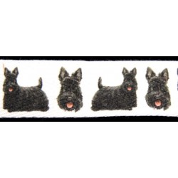 Scottish Terrier Cotton Ribbon - Various Lengths & Widths