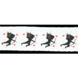 Valentine's Cupid Cotton Ribbon - Various Widths