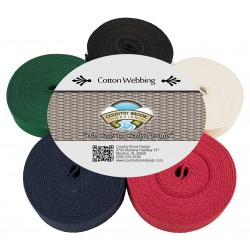 1 Inch Heavy Cotton Webbing, 5 Yards of 5 Colors
