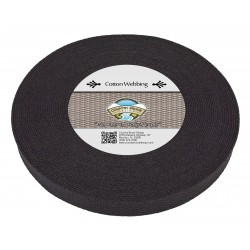 1 Inch Black Heavy Cotton Webbing