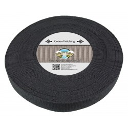 1 1/4 Inch Black Heavy Cotton Webbing