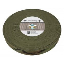 1 1/4 Inch Woodland Camo Heavy Cotton Webbing