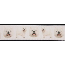 5/8 Inch West Highland White Terrier Cotton Ribbon - Various Lengths