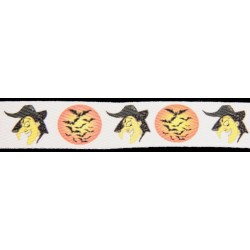 1 Inch Halloween Witches Cotton Ribbon, 1 Yard