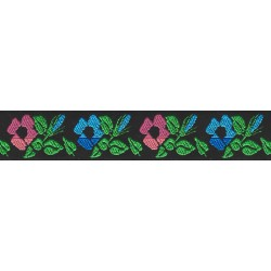 7/8 Inch Wide Two Toned Flowers Woven Jacquard Braid Ribbon