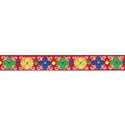 7/8 Inch Wide Basic Flowers Woven Jacquard Braid Ribbon - Various Lengths Available