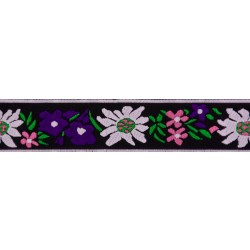 1 Inch Purple Edelweiss Jacquard Ribbon Closeout