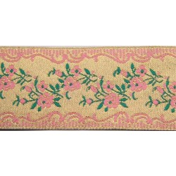1 1/2 Inch Gold with Pink Roses Woven Jacquard Braid Ribbon