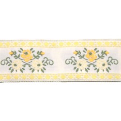 1 1/8 Inch Yellow Roses Woven Jacquard Braid Ribbon