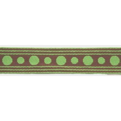 1 Inch Brown with Green Polka Dots Woven Ribbon