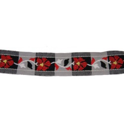 1 Inch Old Fashion Red Floral Woven Jacquard Braid Ribbon