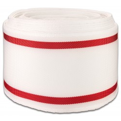 4 Inch White with Red Stripes Lightweight Polyester Webbing Closeout