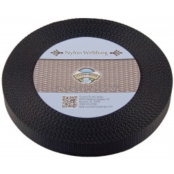 3/4 Inch Black Nylon Heavy Webbing